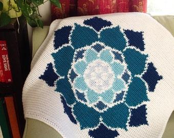 The Lotus Rose Blanket Crochet Pattern PDF, Nonprofit Shop, Baby Blanket, Car Seat,  Lovey,  Stroller, Yoga Afghan