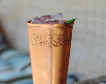 18 oz copper Mint Julep cup with floral design