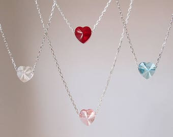 Swarovski Crystal Heart Necklace Red Heart Necklace Blue Heart Necklace Tiny Heart Necklace Pink Heart Necklace Small Heart Necklace
