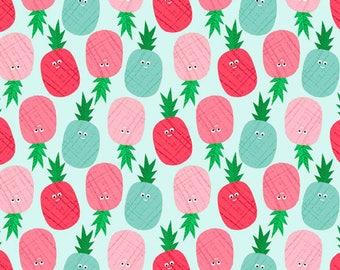 Fruity Friends - Pineapples Blue - Makower UK - Andover (TP-1941-B)
