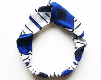Phyllis Fabric Headband - Turban headband - Bold Abstract print - Boho headband - Womans headband - Adult headband - Blue fabric headband