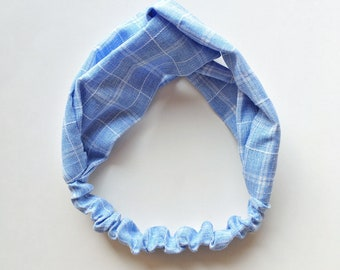 Phyllis Fabric Headband - Turban headband - Blue Check - Boho headband - Womans headband - Adult headband - Light Blue Checks