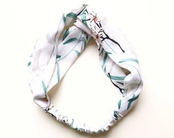 Phyllis Fabric Headband - Turban headband - Branches - Boho headband - Womans headband - Adult headband - White headband - Floral headband