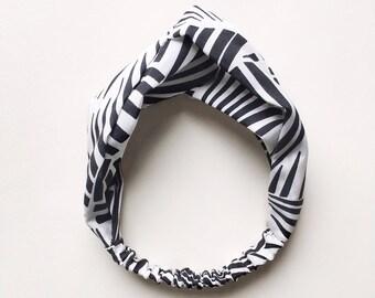 Phyllis Fabric Headband - Turban headband - Tiki Stripes - Boho headband - Womans headband - Adult headband - Black headband