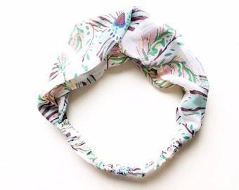 Phyllis Fabric Headband - Turban headband - Summer Garden - Boho headband - Womans headband - Adult headband - White fabric headband