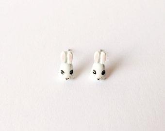 White Bunny Earrings - Bunny earrings - Fashion earrings - White bunnies - Post earrings - Stud earrings - White earrings - White rabbits