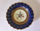 Dr Wall Worcester Plate, First Period Cobalt Blue Gold Wildflowers Plate, Hand Painted Antique 18th Century Display Plate