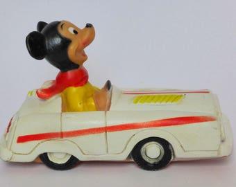 Cute Walt Disney Rubber Squeak Toy, Vintage Mickey Mouse in Car, Disneyana, Damara International, Kitsch Decor, Collectible, Humorous Gift