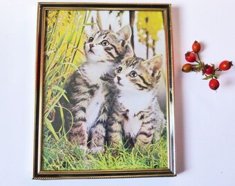 Kitten and Yellow Flowers Picture in Vintage Gold Frame, Mid Century Vintage Decor, Kitsch, 1960s Wall Decor, Retro, Kitschy Cat Lover Gift
