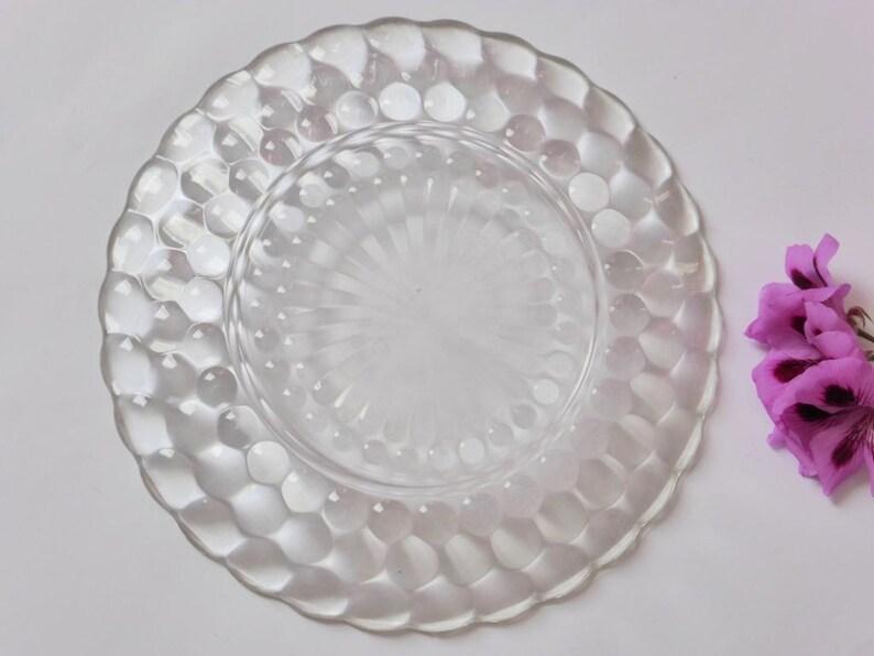 Art Deco 1930s Decor Hobnail Bubble Serving Plate 1937 Anchor Hocking Glass Plate Vintage Wedding Depression Glass Dinner Plate