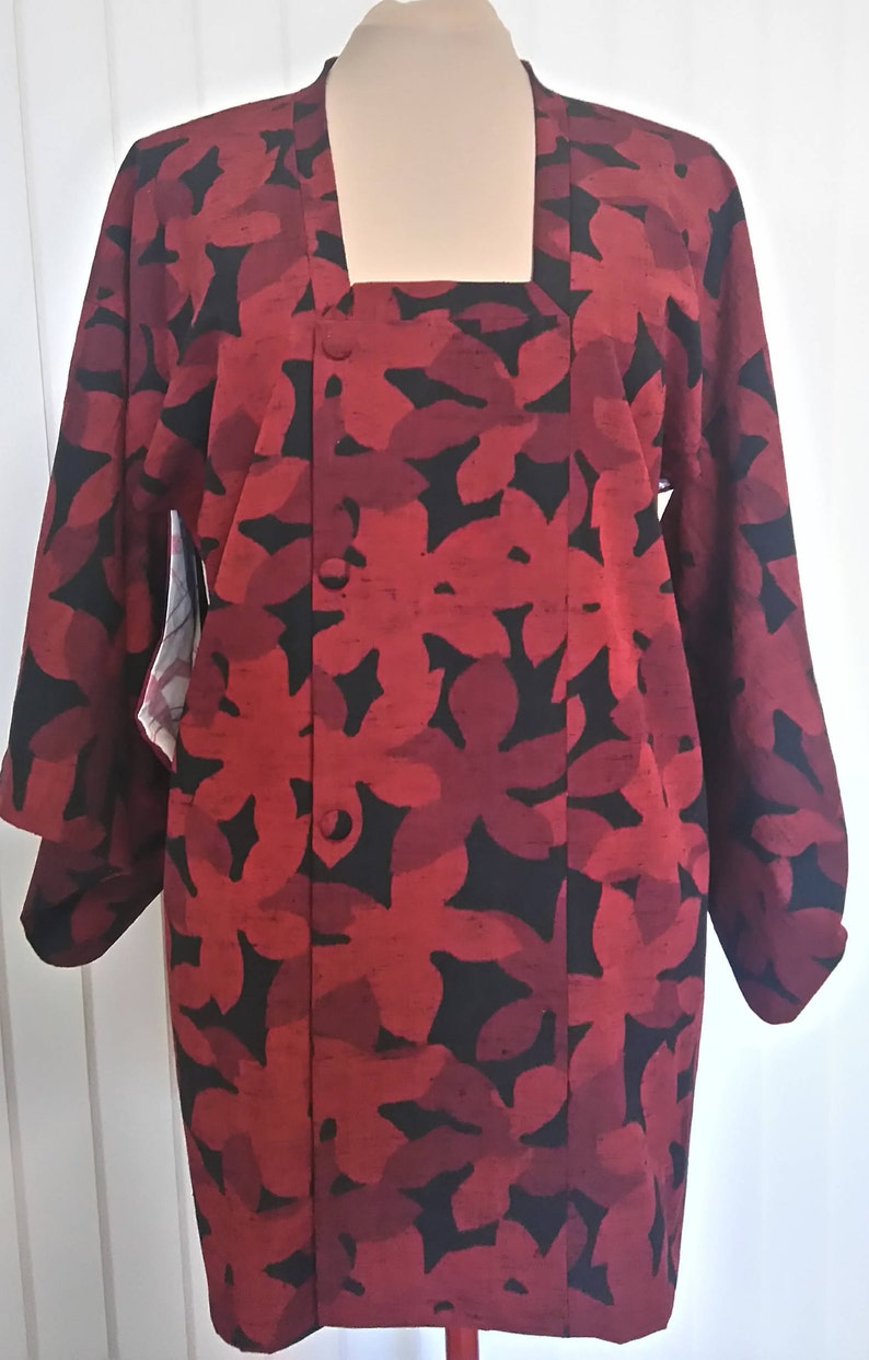Vintage red and black kimono jacket
