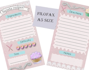 Filofax A5 recipe pages ,insert planner pages,sweets recipes, cute designs lilac, Instant Download!