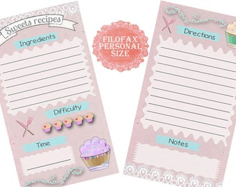 Filofax Personal recipe pages ,insert planner pages,sweets recipes, cute designs lilac, Instant Download!