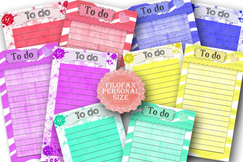 Personal Filofax printable To do list , 10 insert pages 5 colors, cute  design, Instant Download!