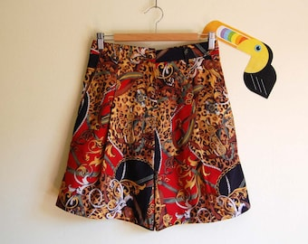 8d3458b118 Vintage Short Culottes with Colorful Baroque & Animal Print size 8