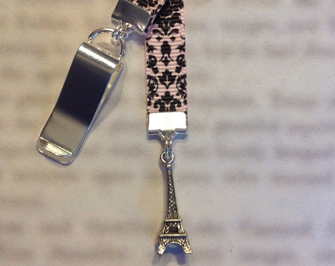 Featured listing image: Eiffel Tower Bookmark / Paris / French Bookmark  Attach to book cover then mark page with ribbon. Never lose your bookmark!