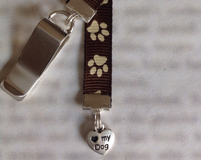 Dog Bookmark / Paw Print Bookmark / Dog Lover Bookmark *FREE SHIPPING* Clip to book cover then mark page with ribbon Never lose the bookmark