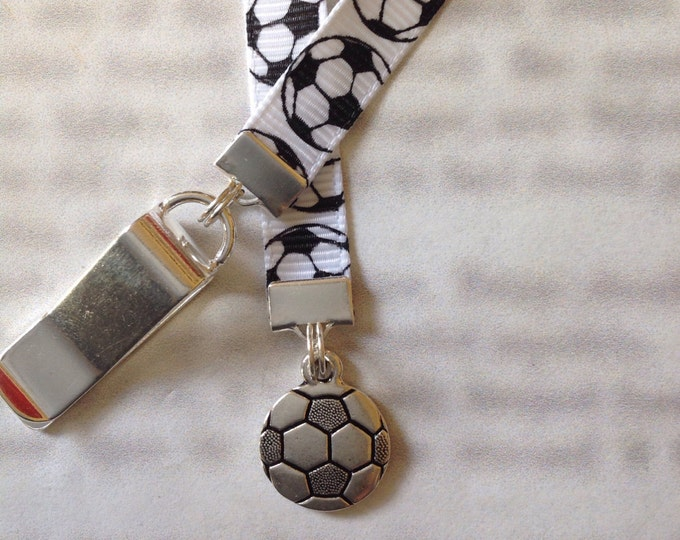 Soccer bookmark / Foot Ball Bookmark / Soccer Mom bookmark - Clip to book cover then mark page with the ribbon. Never lose your bookmark!