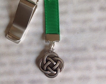 Celtic Knot bookmark / Irish Bookmark  - Clip to book cover then mark page with ribbon. Never lose your bookmark!
