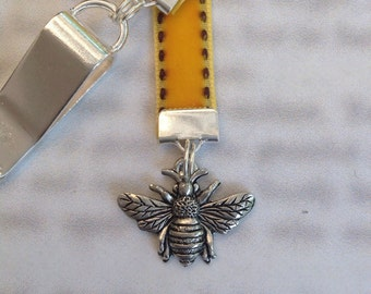 Bee bookmark / Bee Keeper bookmark / Cute bookmark *FREE SHIPPING* - Attach to cover then mark page with ribbon. Never lose your bookmark!
