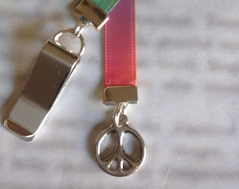 Peace Sign bookmark with clip - Attach clip to book cover then mark the page with the ribbon. Never lose your bookmark!