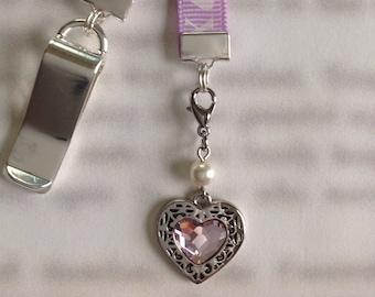 Heart bookmark / I Love You Bookmark / Exclusive Swarovski Bookmark  Attach clip to book cover then mark page with ribbon