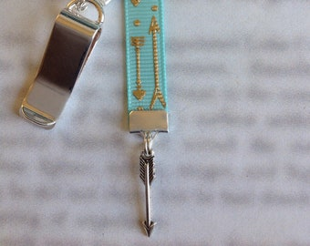 Arrow bookmark / Archer bookmark / Follow Your Arrow bookmark - Attach clip to book cover then mark page with ribbon.
