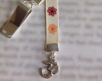 Yoga Bookmark / Om Bookmark / Aum Bookmark/ Namaste / Ohm - Clip to book cover then mark the page with the ribbon. Never lose your bookmark!