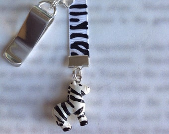 Zebra Bookmark / Zebra gift / Cute Bookmark *FREE SHIPPING* - Attach to book cover then mark page with ribbon. Never lose your bookmark