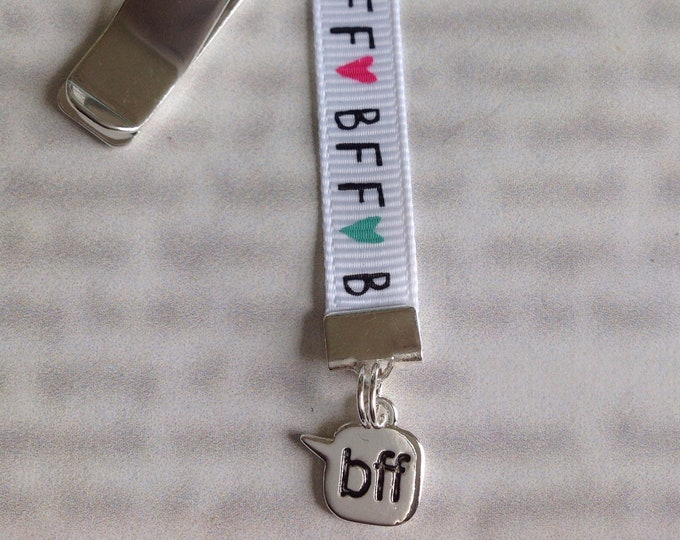 BFF Bookmark / Best Friend Bookmark / Besties *FREE SHIPPING* Attach to book cover then mark page with ribbon. Never lose your bookmark!