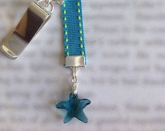 Crystal Sea Star Bookmark / Star Fish *FREE SHIPPING* Attach clip to book cover then mark the page with the ribbon. Never lose your bookmark