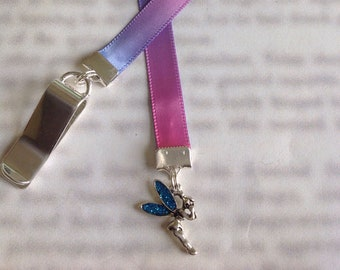 Fairy Bookmark / Tinkerbell Bookmark / Cute Bookmark - Clip to book cover then mark the page with the ribbon. Never lose your cute bookmark!