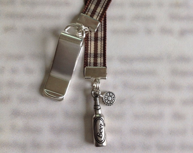 Beer Bottle / Craft Beer Bookmark / Beer Enthusiast *FREE SHIPPING* - Clip to cover then mark page with ribbon. Never lose your bookmark!