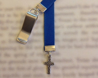 Cross Bookmark / Christian Bookmark / *FREE SHIPPING* - Clip to book cover then mark page with ribbon. Never lose your bookmark!