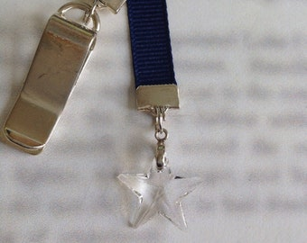 Crystal Star Bookmark / Shining Star Bookmark *FREE SHIPPING* Attach to book cover then mark page with the ribbon. Never lose your bookmark!