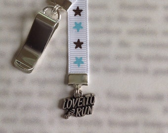 Runners Bookmark / Marathon Bookmark *FREE SHIPPING* Attach clip to cover then mark page with ribbon. Never lose your bookmark!