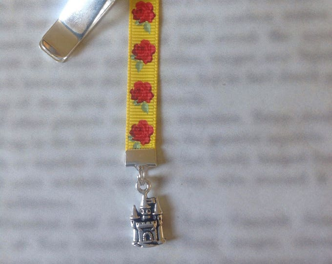 Featured listing image: Beauty and the Beast bookmark / Belle bookmark / Beast's Castle bookmark - Attach to book cover then mark page with the ribbon