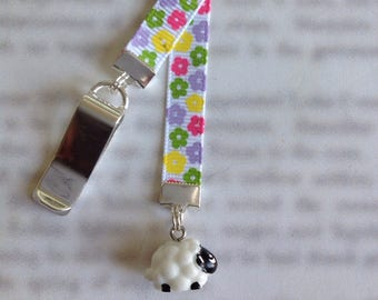 Sheep Bookmark / Lamb Bookmark / Cute Bookmark *FREE SHIPPING* - Clip to cover then mark page with ribbon. Never lose your bookmark!