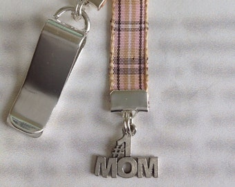 Mom Bookmark / #1 Mom Bookmark *FREE SHIPPING* - Attach to book cover then mark the page with the ribbon. Never lose your bookmark!