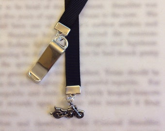 Motorcycle bookmark/ Harley Bookmark *FREE SHIPPING* Attach clip to cover then mark page with ribbon. Never lose your bookmark!