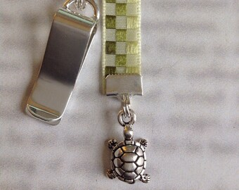 Turtle bookmark / Tortoise / Cute Bookmark *FREE SHIPPING* - Attach clip to cover then mark page with ribbon. Never lose your bookmark!