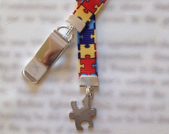 Autism Awareness Bookmark / Puzzle Bookmark / Aspergers bookmark  Attach clip to book cover, mark page with ribbon. Never lose your bookmark
