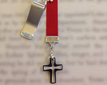 Cosmojet Crystal Cross bookmark  Attach clip to book cover then mark your page with the ribbon. Never lose your bookmark!