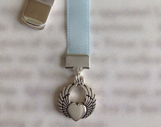 Angel Wings bookmark / Angel Bookmark / Guardian Angel *FREE SHIPPING* Clip to cover then mark page with ribbon. Never lose your bookmark!