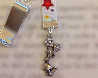 Cheerleader bookmark / Cheer bookmark *FREE SHIPPING* Attach clip to book cover then mark the page with the ribbon. Never lose your bookmark