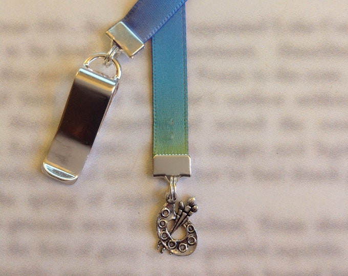 Artist / Paint Palette / Art Bookmark - *FREE SHIPPING* - Clip to book cover then mark the page with the ribbon. Never lose your bookmark!