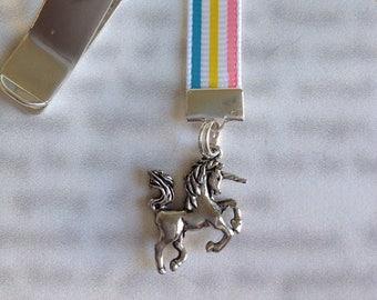 Unicorn Bookmark / Rainbow Unicorn Bookmark / Unicorn Lover Bookmark / Attach clip to book cover, never lose your bookmark!
