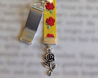 Rose bookmark / Beauty and the Beast bookmark / Belle bookmark *FREE SHIPPING* Attach clip to book cover then mark page with the ribbon.