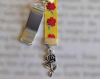 Rose bookmark / Beauty and the Beast bookmark / Belle bookmark  Attach clip to book cover then mark page with the ribbon.
