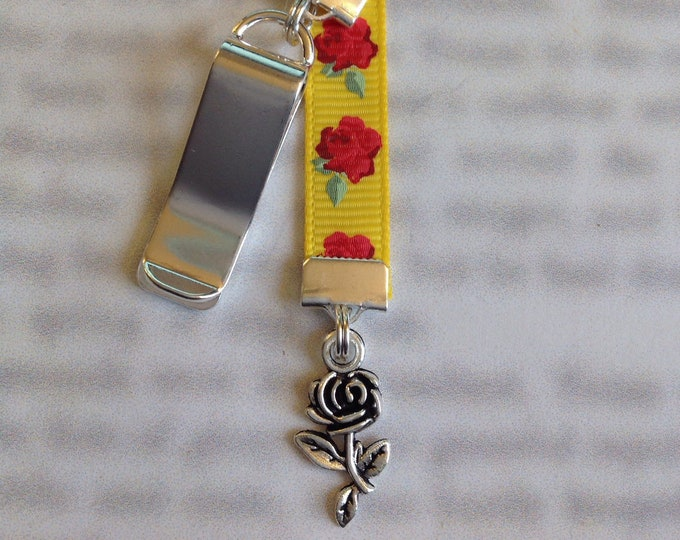 Featured listing image: Rose bookmark / Beauty and the Beast bookmark / Belle bookmark *FREE SHIPPING* Attach clip to book cover then mark page with the ribbon.